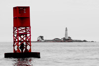 Boston Harbor Buoy with Boston Light in Background